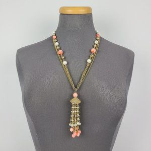Vintage Gold Tone Coral Beaded Tassel Necklace